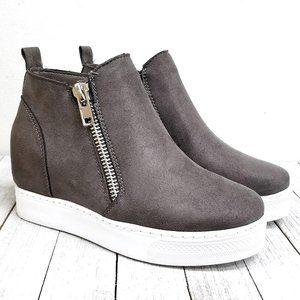 New Gray Hidden Wedge High Top Platform Sneakers